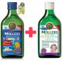 Mollers Omega 3 Ovocná příchuť 250 ml + zdarma Mollers Můj první rybí olej 250 ml