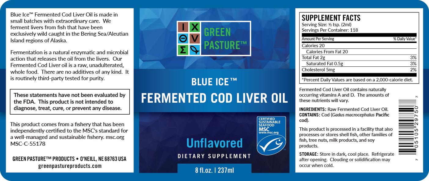 Blue Ice Green Pasture fermentovaný olej z tresčích jater - neochucený