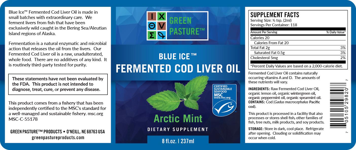 Blue Ice Green Pasture fermentovaný olej z tresčích jater - máta