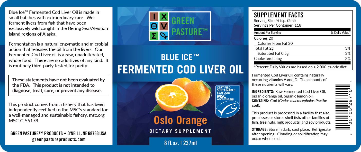 Blue Ice Green Pasture fermentovaný olej z tresčích jater - pomeranč