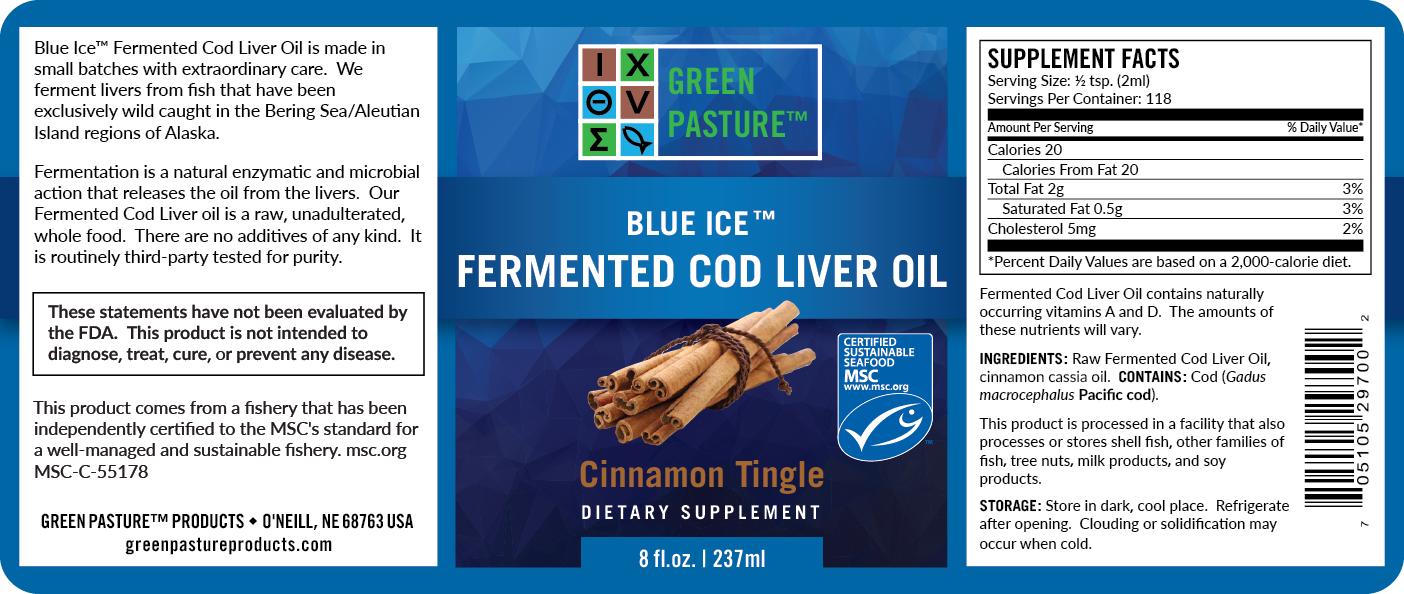 Blue Ice Green Pasture fermentovaný olej z tresčích jater - skořice